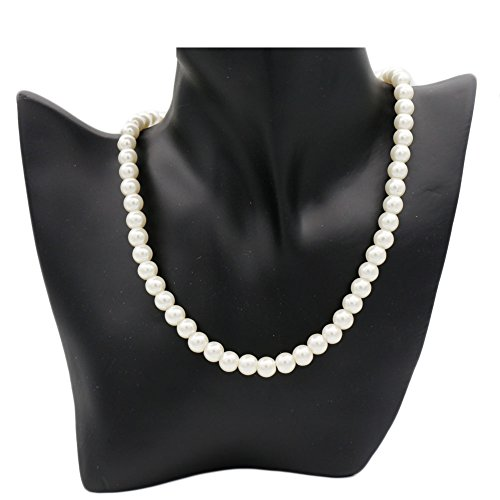B-JSEA Single Strand 8mm Simulated White Pearl Necklace Black Pink Beige Glass Pearl Bib Statement Necklace