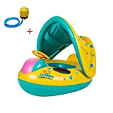 Safety Baby Toddler Kids Child Inflatable Swimming Water Float Seat Boat Ring Swim Pool with Adjustable Sunshade+A Cute Cartoon Waterproof Bag+A Plastic Foot Air Pump Inflator