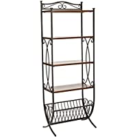 Safavieh American Homes Collection Amelia Antiqued Pewter and Dark Walnut Etagere