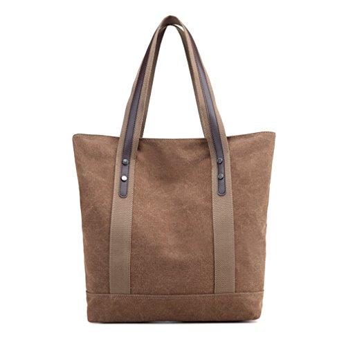 Women's Canvas Work Tote Purses Retro Handbags Shoulder Bags (Brown) (Brown Canvas Bag)