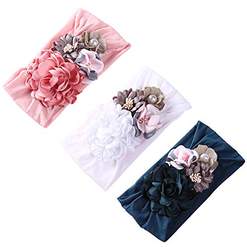 Baby Girl Floral Turban Headbands, Infant Flower Nylon Elastic Head Wraps for Newborn,Toddler and Kids