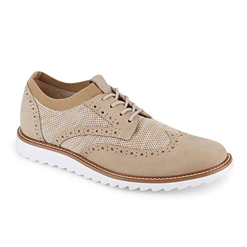 Dockers Mens Hawking Knit/Leather Smart Series Dress Casual Wingtip Oxford Shoe with NeverWet, Oatmeal, 9.5 M