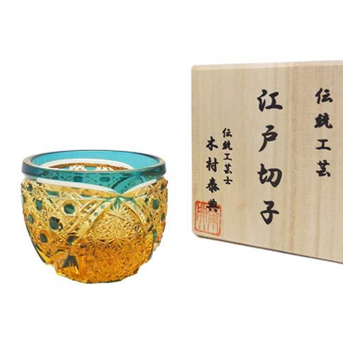 江戸切子 クリスタル 菊繋ぎに籠目紋 ぐい呑み TB5100-35(琥珀緑)   B07BHGQBFY