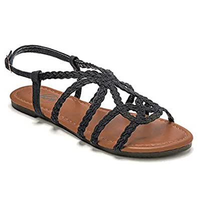 Trary Braided Strap Open Toe Summer Flat Sandals for Women Black Size: 5