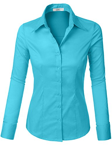 LE3NO Womens Tailored Long Sleeve Button Down Shirt with Stretch - Aqua Long Sleeve Shirt
