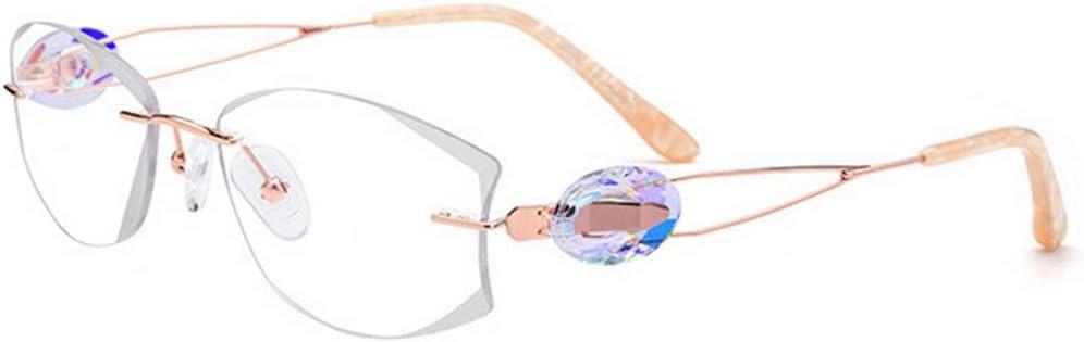 JIANYI 軽量レディースピュアチタンビジネスメガネ フレームレススタイルクリスタルデコレーションクリアレンズレジャー眼鏡 (色 : ホワイト) ホワイト