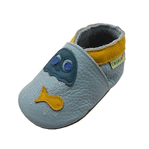 Sayoyo Suaves Zapatos De Cuero Del Bebé Zapatillas Pulpo azul