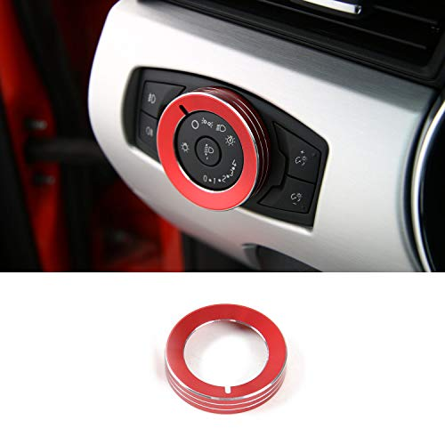 JOIN-WIT Headlight Switch Knob Cover Ring Trim for Ford F150 XLT 2016 2017 & Mustang 2015 2016 (Red)