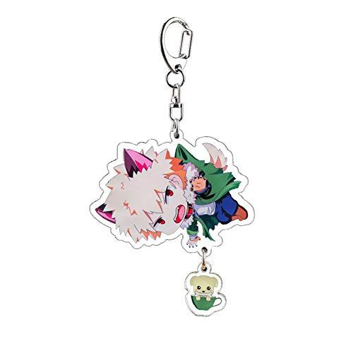 WerNerk Anime Boku No Hero Academia Keychain Key Ring My Hero Academia Acrylic Action Acrylic Keychain with Figure Metal Clasp(Style 3: Bakugou Katsuki)