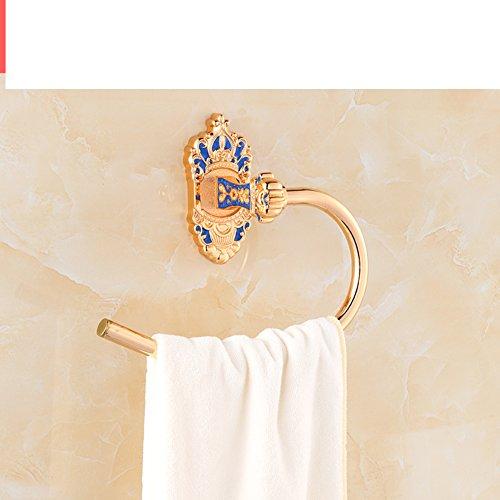 (JIJISADA Hair Dryer Holder,Hair Dryer Shelf,Hair Blow Dryer Holder, European Style Towel Rack Single bar Double Towel Shelf Tripod Blower Shelf Row Hook Toilet Brush Holder Towel Ring-K )