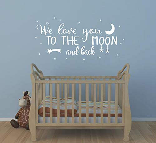 Wall Decal Kids We Love You to The Moon and Back Quote Wall Decals Nursery Vinyl Wall Stickers for Baby Boys and Grils Bedroom Scandinavian Wall Decal (Y29) (White)