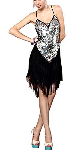 Whitewed Coin Tassel Latin Fringe Dance Competition Practice Ballroom Dresses, Black / Silver, One Size - Fringe Coin