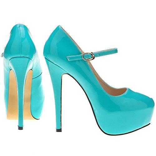 Loslandifen Womens Mary Jane Shoes Concealed Platform Stiletto High Heels Dress Pumps Blue CyC5Wp0Ni