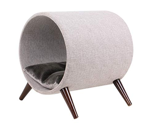 Cat Craft 4308601 Tunnel Bed, Grey and Brown Wooden Legs Cat Furniture, 15 Inch