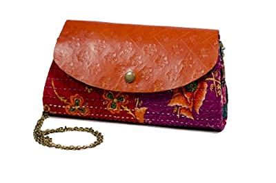 """Fair Trade Handmade """"Jogi"""" Leather and Fabric Clutch with Gold Chain"""