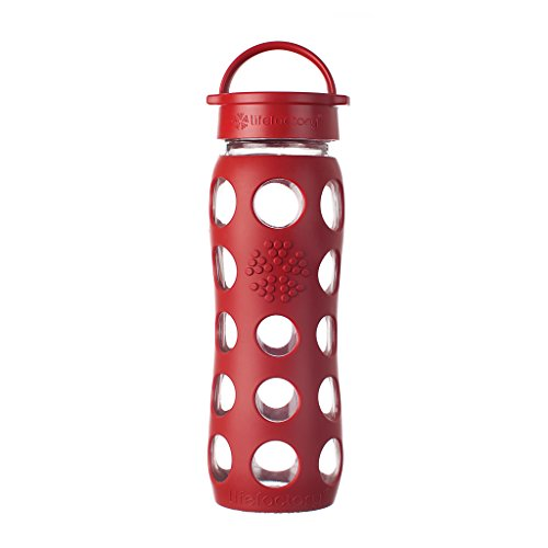 Lifefactory 22-Ounce BPA-Free Glass Water Bottle with Leakproof Cap and Silicone Sleeve, Red by Lifefactory