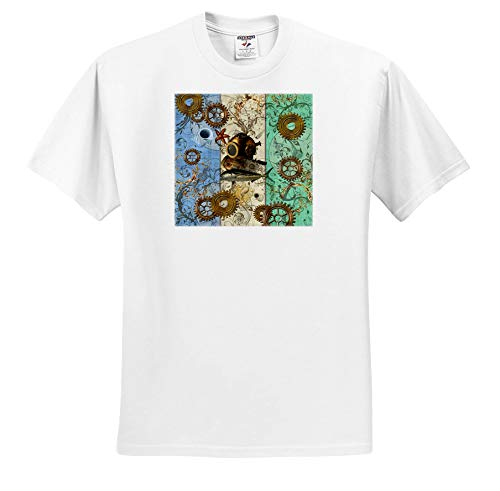 3dRose Lucia - Steampunk - Nautical Steampunk with Antique Divers Helmet and Sea Creatures - T-Shirts - White Infant Lap-Shoulder Tee (6M) (ts_289791_66) -