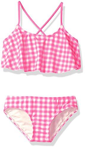 Kanu Surf Girls' Big Lilly Check Flounce Bikini Swimsuit, Pink, ()