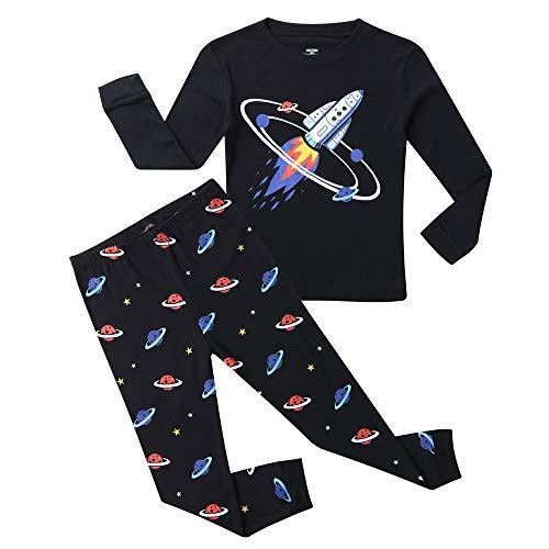 Hsctek Boy Pajamas Set, Children Long PJS, Kids' Cotton Sleepwear Clothes(Black Rocket 1, 7)