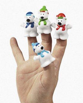 """UPC 887600907638, ~ 4 ~ Polar Bear Finger Puppets ~ 1.75"""" Plastic ~ New"""