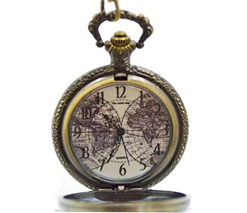CoolRings Bronze Pocket Watch Old World Map Large Antique Style FOB Chain for Man or Woman