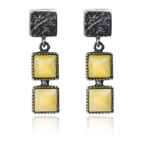 Sterling Silver Butterscotch Amber Squares Dangle Stud - Amber Earrings Butterscotch