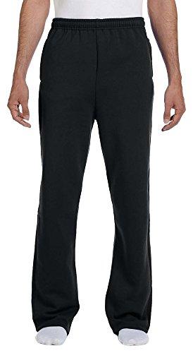 (Jerzees 8 oz, 50/50 NuBlend Open-Bottom Sweatpants, Small, Black)