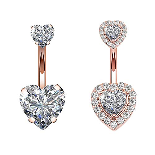 TOPBRIGHT 1-10PCS 16G Surgical Steel Dangle Navel Belly Button Ring Bar Curved Barbell Body Piercing Jewelry for Women Crystal CZ Ball Screw Navel Bars (2PCS-Heart-Rose Gold)
