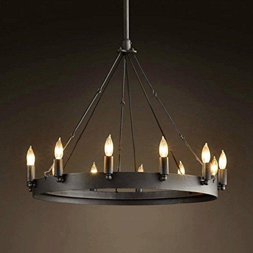 GRH-12 Kopf Industrie-Retro-Beleuchtung Einfache europäische klassische runde Tabelle Kerze Kronleuchter Eisen Werke hängende helle schwarze Durchmesser 56cm