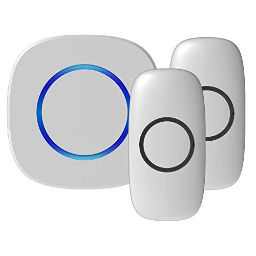 Price comparison product image Classic Waterproof Wireless Doorbell - Wireless Long Range Electric Doorbell with LED Indicators, 32 Door Alert Chimes (White, 1 receiver + 2 transmitters), RingPoint Series