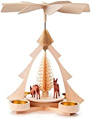 Christmas Tree and Deer German Pyramid - 10 Inches Tall - German Carousel