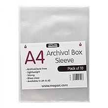 Artcare 15143001 34,5 x 0,1 x 23 cm A4 Caja de Archivo de Material sintético Unpunched Mangas, 10 Unidades, Transparente
