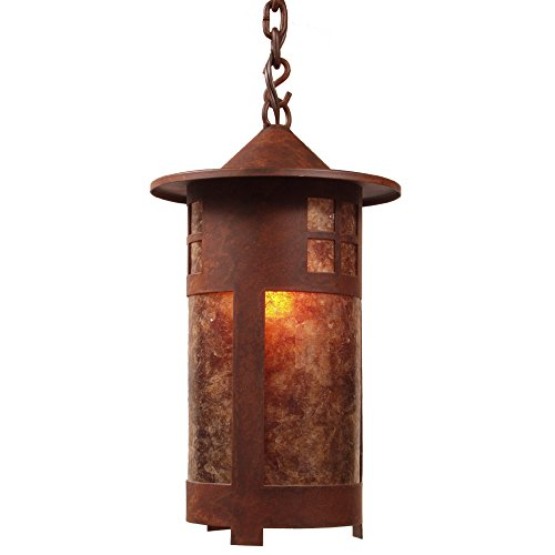 Bathroom Lighting Bronze Pasadena - Steel Partners Lighting 2161-P-AB PASADENA Pendant with Amber Mica Lens, Architectural Bronze Finish