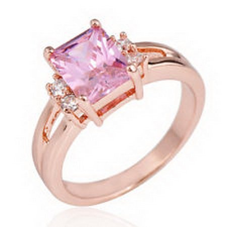 jacob alex ring Rectangle Rings Size 8 Pink Crystal CZ Women's 10Kt Rose Gold Filled Wedding