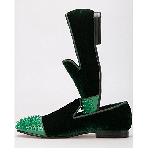 OCHENTA Handmade Men Zapatos de Terciopelo con Remache de Cuero de Los Hombres de Moda Mocasines EU 38-47 Verde oscuro