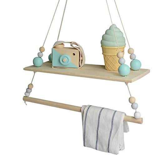 Lightclub Triangle Bead Wood Wall Hanging Rack Shelf Shelve Holder Storage Home Decor - Green+Grey ()