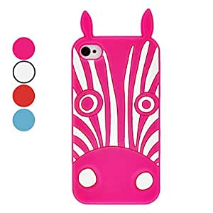 Bkjhkjy Zebra Pattern Silica Gel Soft Case with Rabbit Ear for iPhone 4/4S (Assorted Colors) , Red