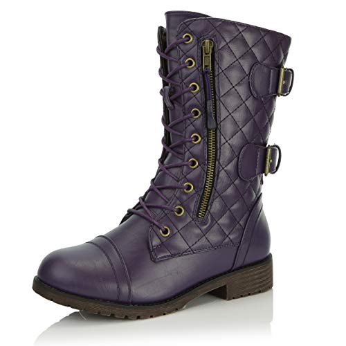 (DailyShoes Women's Military Lace Up Buckle Combat Boots Mid Knee High Exclusive Quilted Credit Card Pocket, Quilted Purple Pu, 9 B(M) US)
