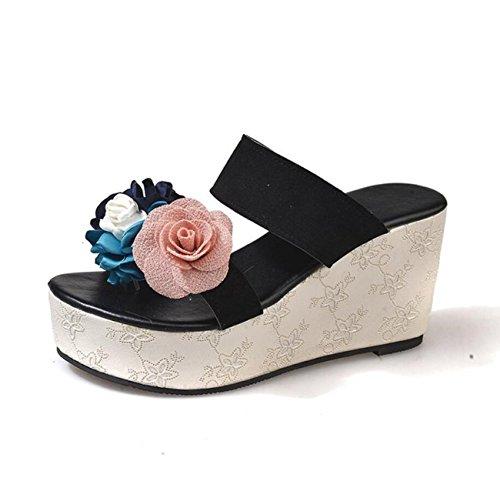 cuña Zapatos Plataformas Black Rose de romana de niñas Sandalias Chanclas para Rosa de mujer Negro mujeres playa de verano Beige RqwxRf