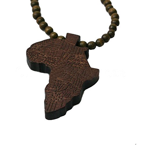SODIAL(R)Good Quality African Map Pendant Wood Bead Rosary Necklaces Coffee