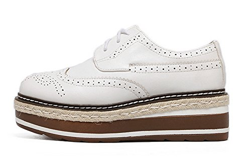 Shoes Oxfords Lace Microfiber AdeeSu Wedges Up Round Toe Platform Womens White CnxwUzS