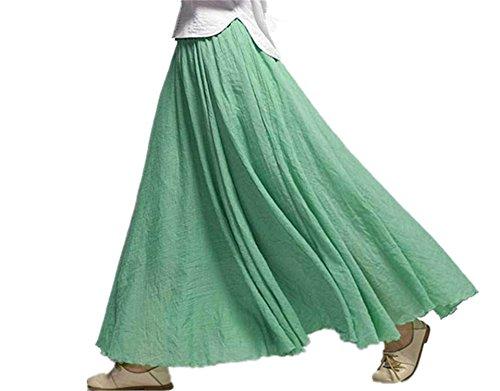 Ebay Leather Skirt - XIAFEIMANTIAN Women Elegant High Waist Linen Maxi Skirt Casual Elastic Waist Skirts