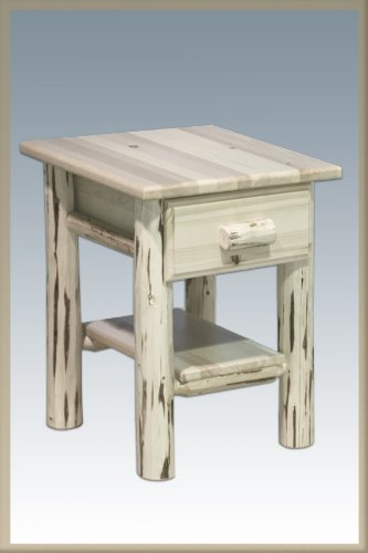 Montana Woodworks MWND Montana Collection Nightstand/End Table with Drawer & Shelf, Ready to Finish - Log Cedar Nightstand 1 Drawer