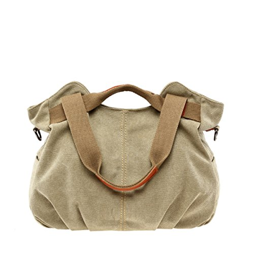 JSBKY Women's Ladies Vintage Casual Hobo Canvas Daily Purse Top Handle Shoulder Tote Shopper Handbag (khaki) ()