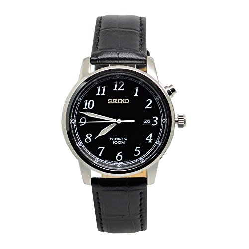 Seiko Kinetic Black Dial Mens Watch (Mens Black Dial Kinetic Watch)