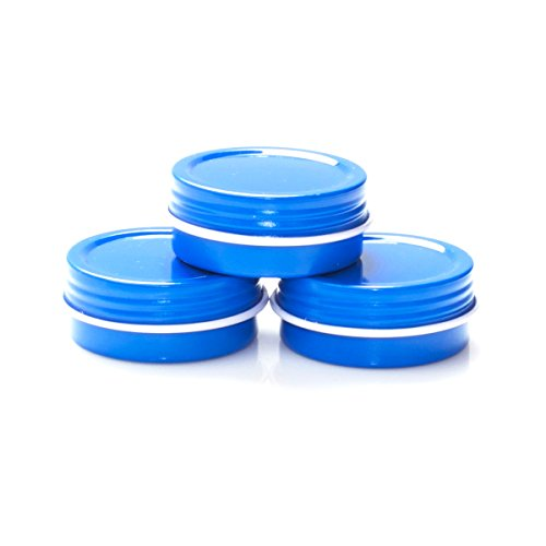 (Mimi Pack 1/2 oz Shallow Round Metal Tin Can Empty Screw Top Lid Steel Containers For Cosmetics, Favors, Spices, Balms, Gels, Candles, Gifts, Storage 24 Pack (Blue))