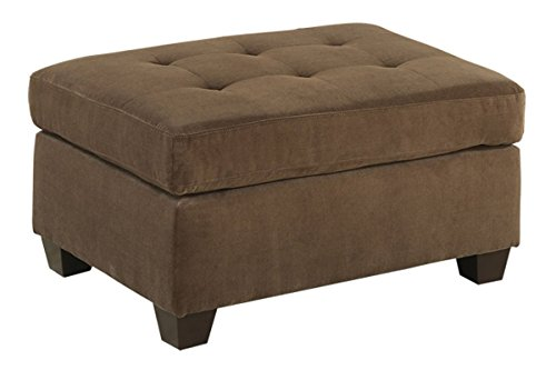 Poundex PDEX-F7120 Smooth Waffle Suede Cocktail Ottoman, Brown
