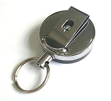 0fde0ec933 Arpoador, portachiavi robusto con cavo retrattile in metallo cromato lungo  4 cm, portachiavi con cavo telescopico altamente elastico, anello  portachiavi con ...