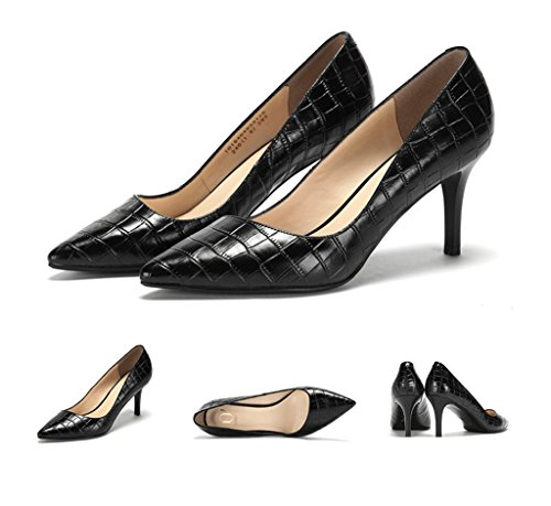 Commuter Shoes Fashion Heels Mouth Sandals Leather Comfortable 38 Pointed Black Size High Work Shoes Black Shallow Dream Color qSYwRx0