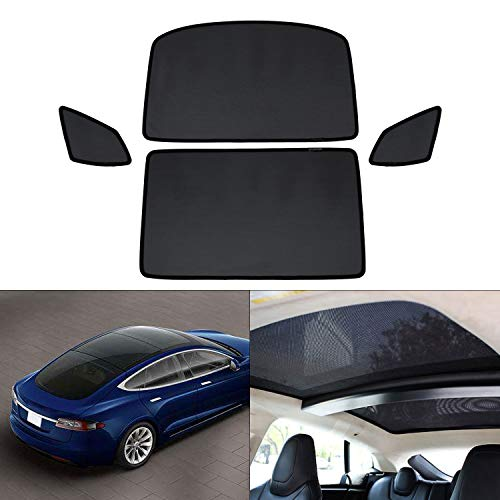 Mixsuper Mesh Car Window Sun Shades,Car Sunroof UV Rays Protection Window Shade for Tesla Model S 4 Pack